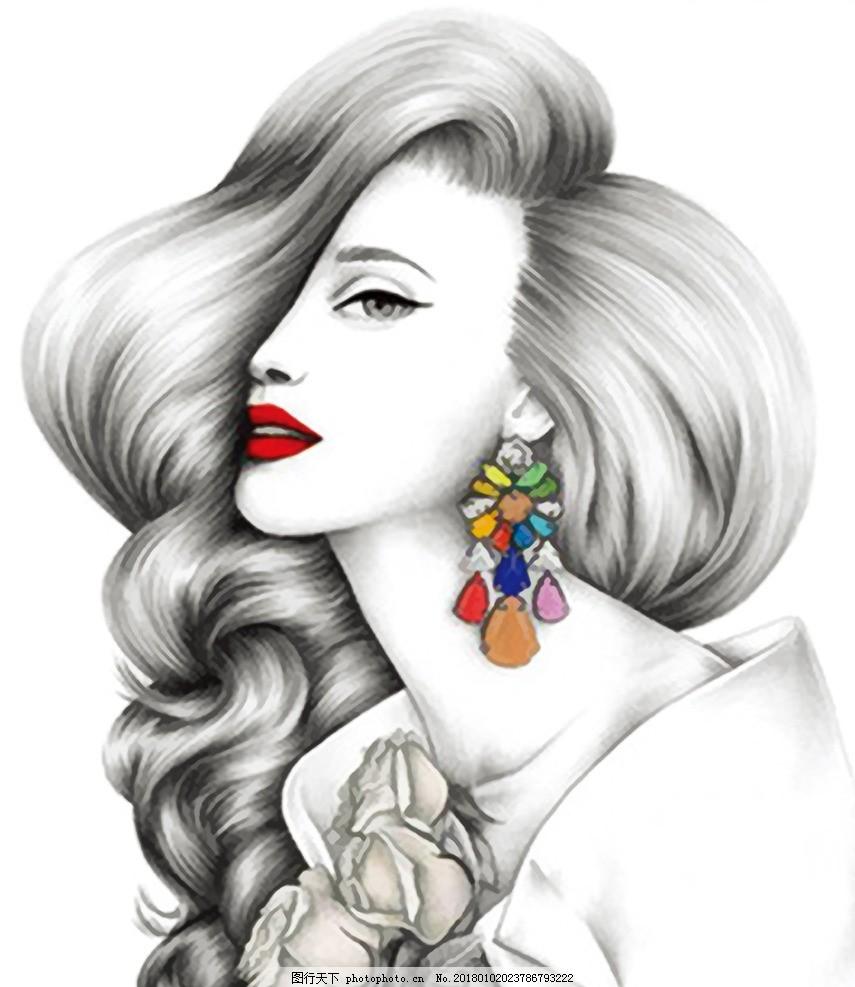 手绘美女头像 女性 头发