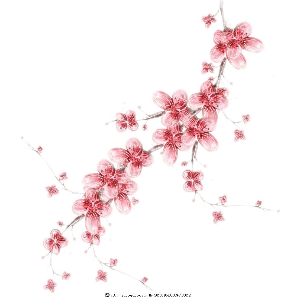 桃花花枝 花卉 水彩花卉 梅花 干枝 图片素材