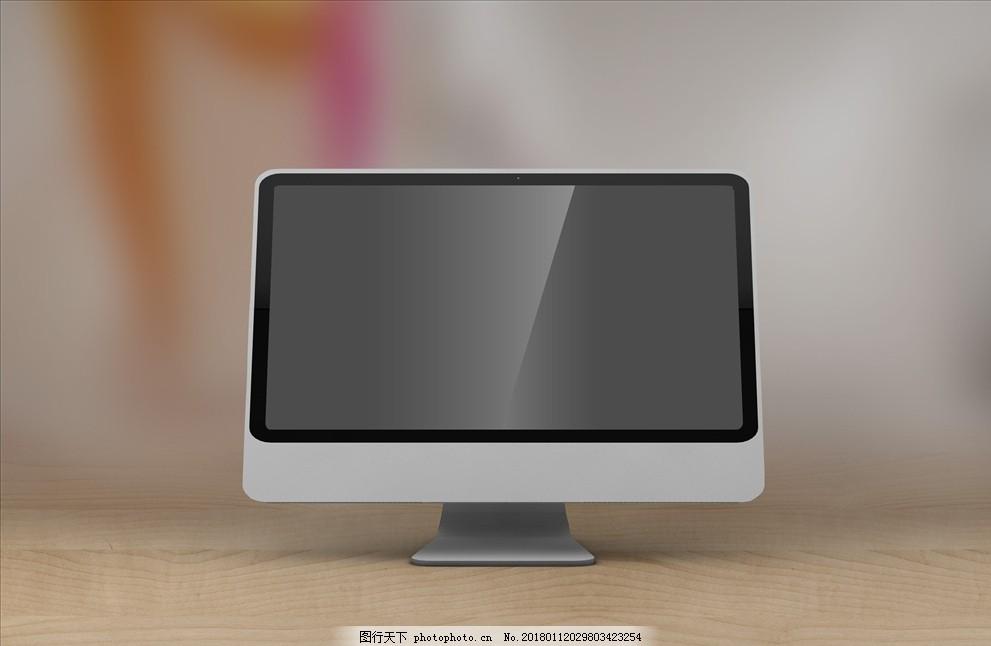 苹果电脑智能贴图 样机 桌子 人
