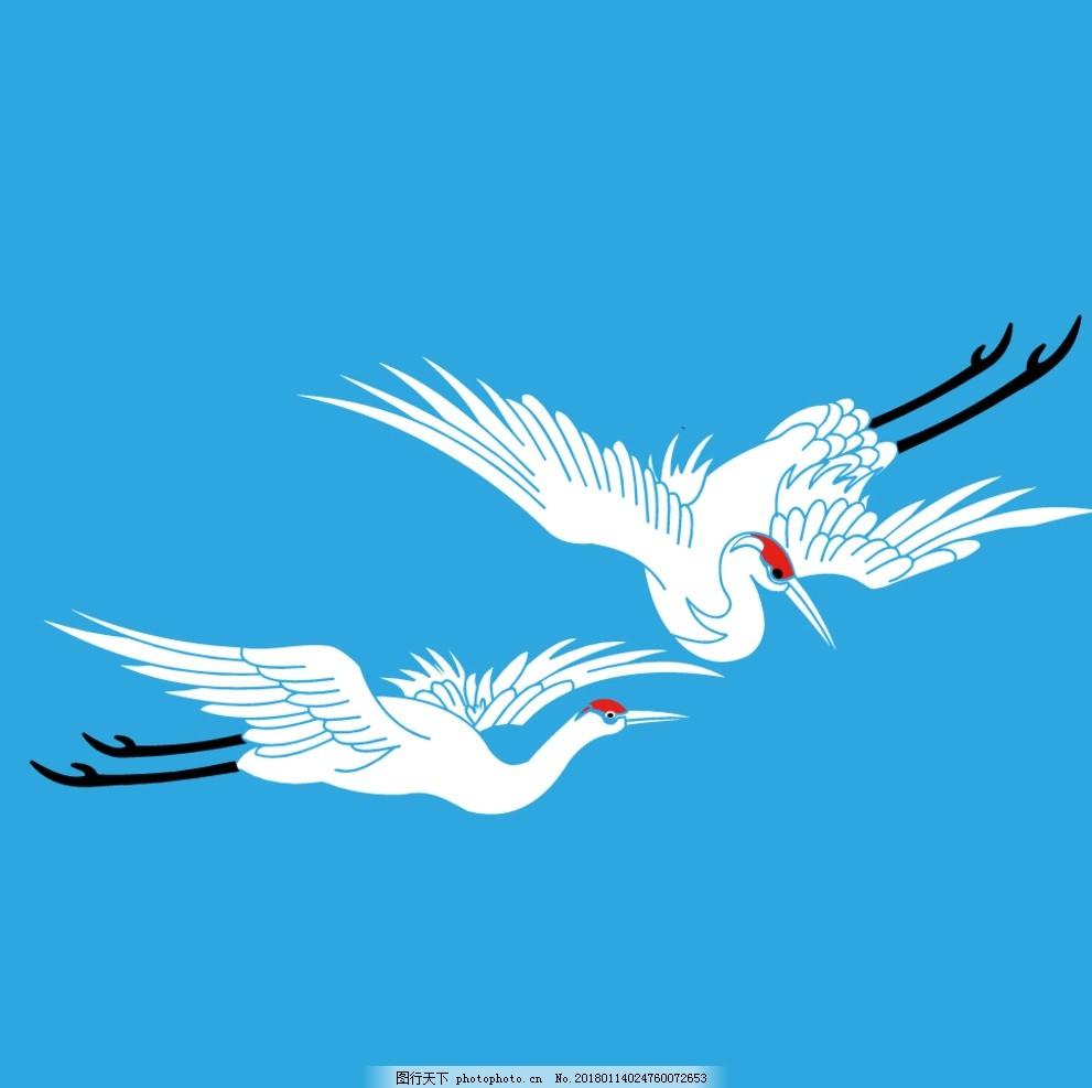 白鹤 线描鹤 矢量图鹤 鹤矢量图 丹顶鹤 仙鹤 鹤元素 鹤素材