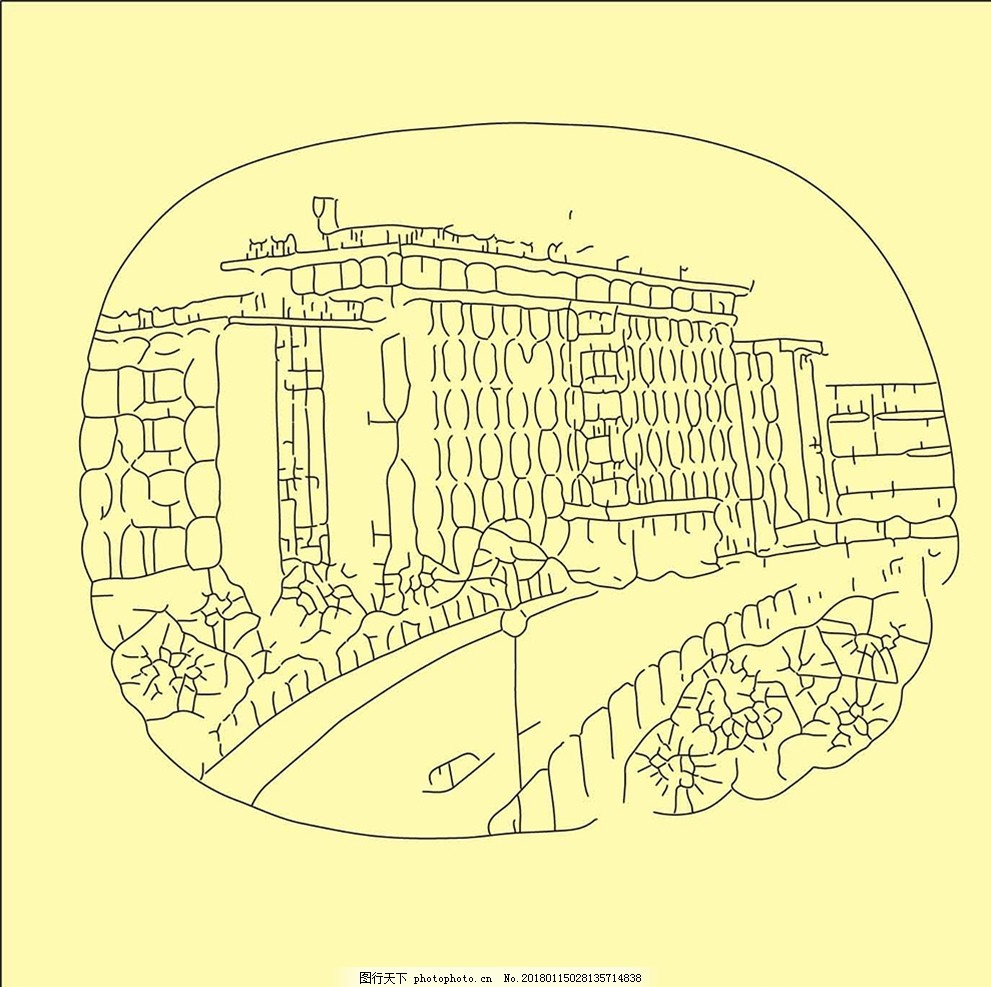 城市线条图 建筑 装饰 矢量 路灯 植物 风景