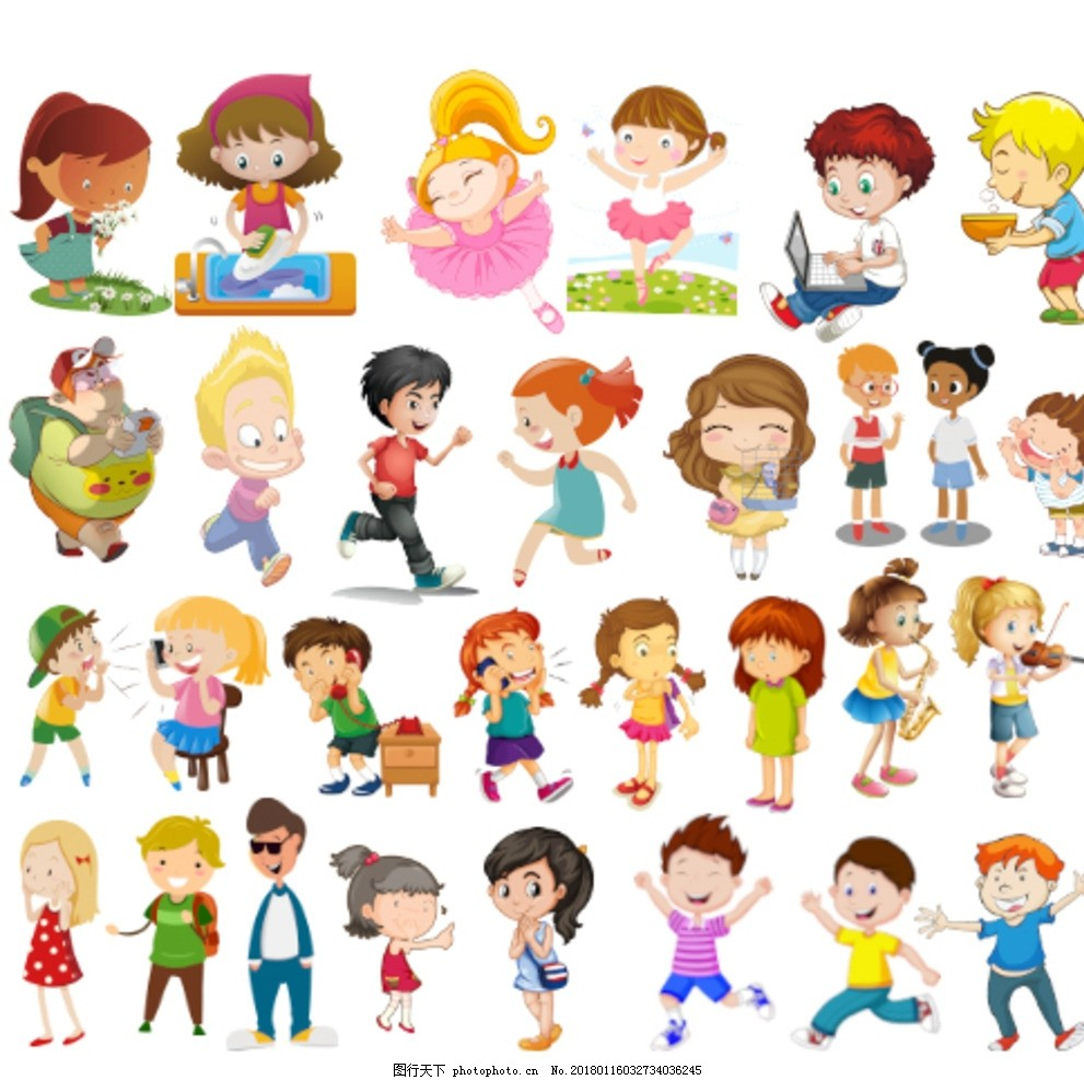 卡通小孩 卡通儿童 刷碗 跳舞 男孩 女孩 玩游戏 玩电脑 端碗