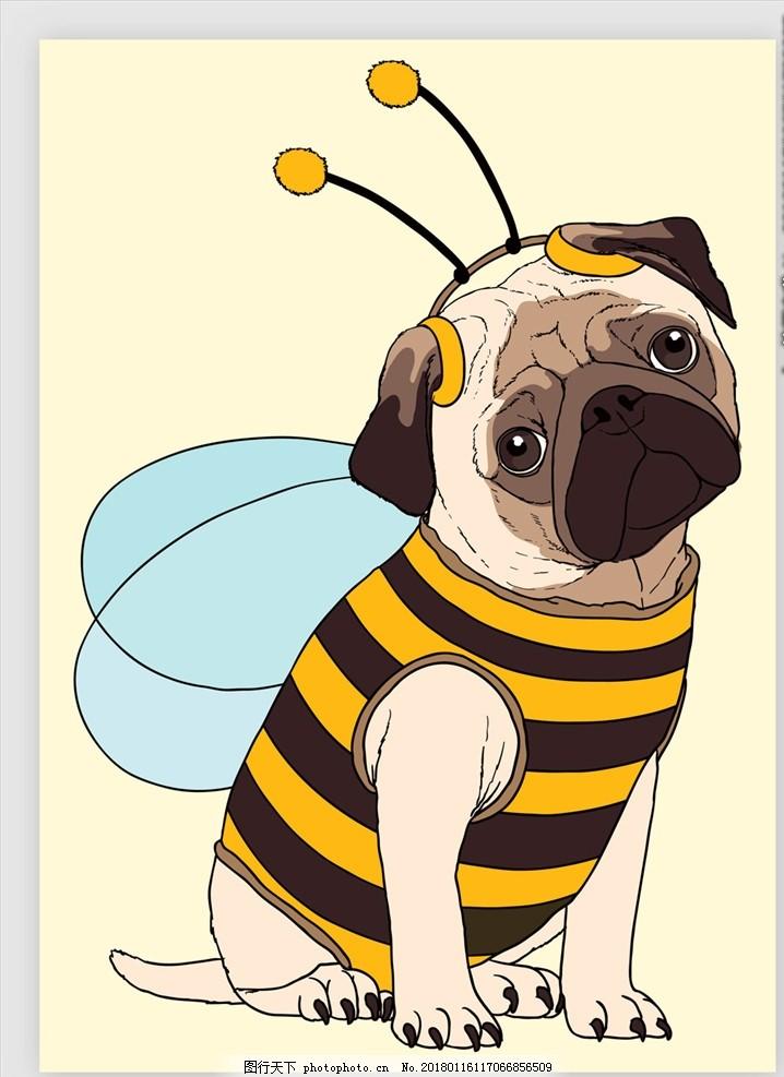 矢量手绘狗狗 卡通图像 卡通人物 漫画 插画 动漫矢量 矢量素材