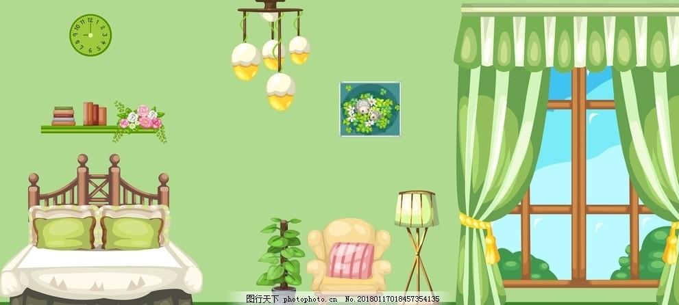 卡通室内场景 灯 床 窗户 卡通房间 绿色卡通房间 设计 动漫动画 风景