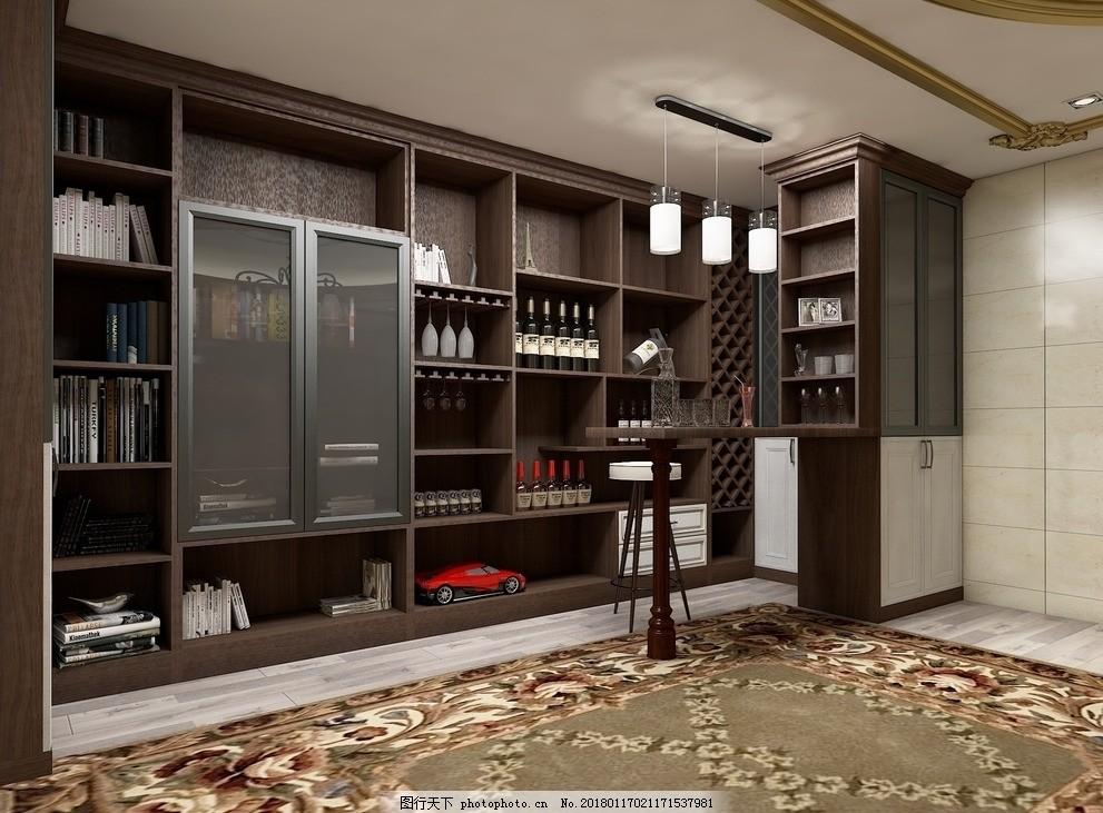 家庭酒柜设计图_家庭酒柜吧台设计_装修图库