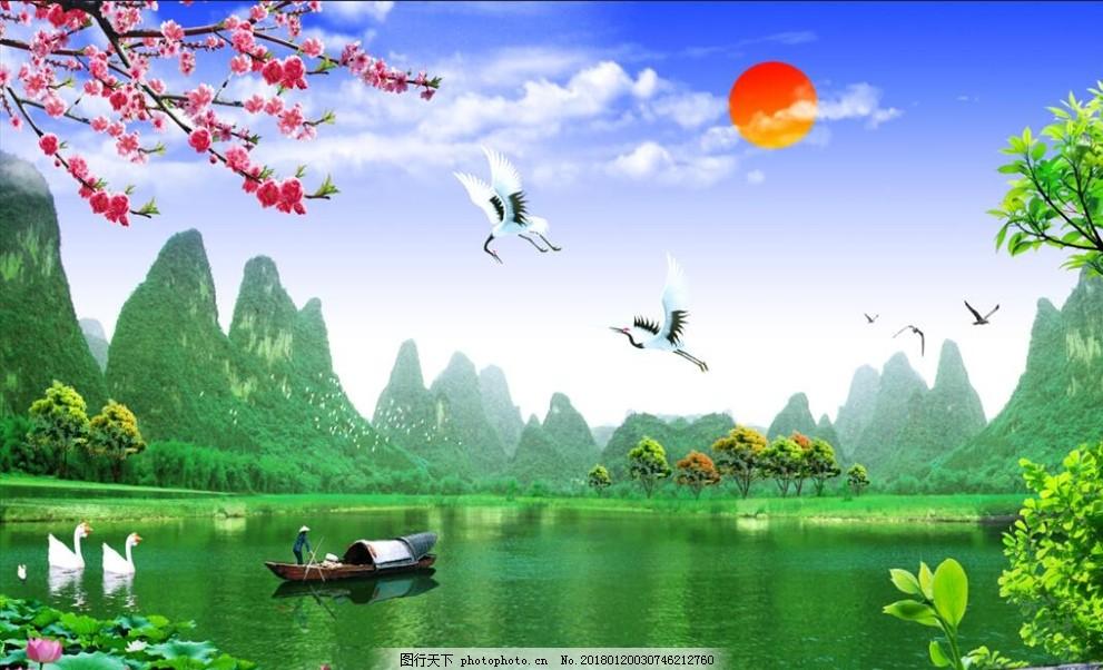 3d山水漁船梅花荷花夕陽背景墻