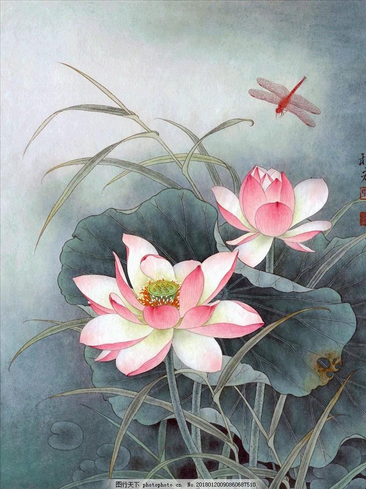 工笔画荷花 中国画 荷花图 油画 文化艺术 传统文化