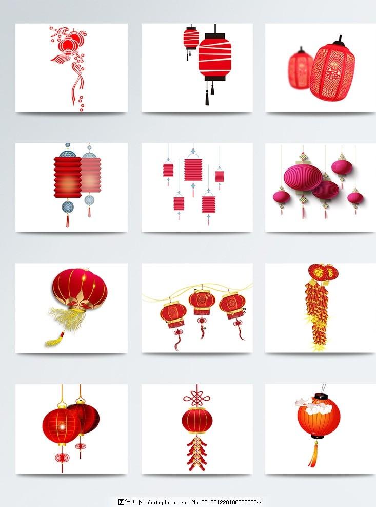 手绘创意扁平灯笼素材 花灯图片 花灯设计 荷花灯 节日花灯 传统花灯