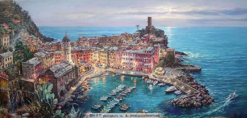 欧洲城堡 古堡 海洋 海岛 岛屿 夏日 欧式 油画 风景 港湾
