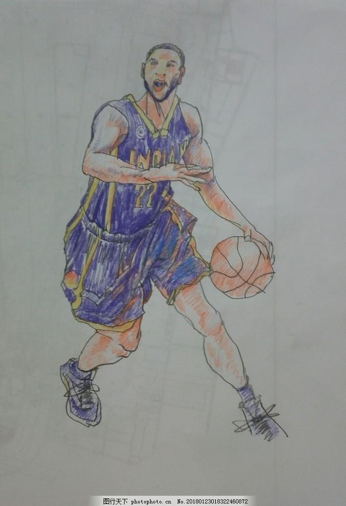 打篮球 手绘 艺术 彩铅 绘画 速写 人物 涂鸦 描画 女人 女性
