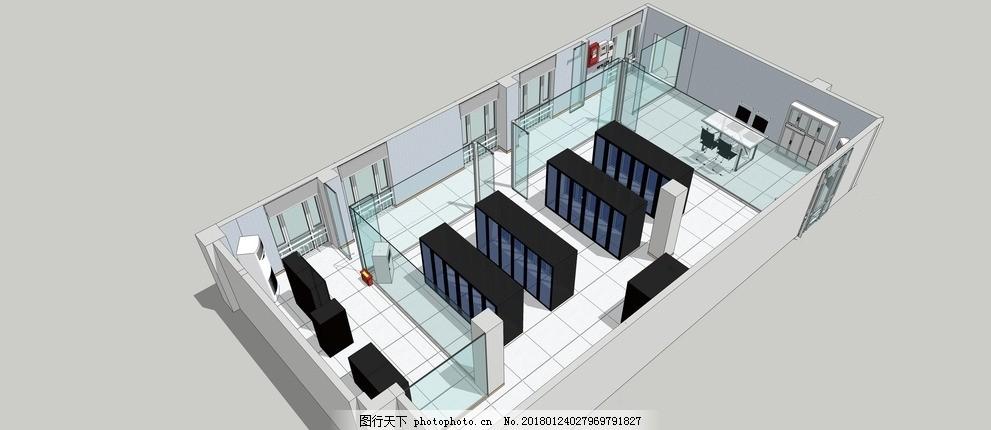机房布局俯视图 机房 室内 装饰 装修 布局 平面 中控室 设计 环境