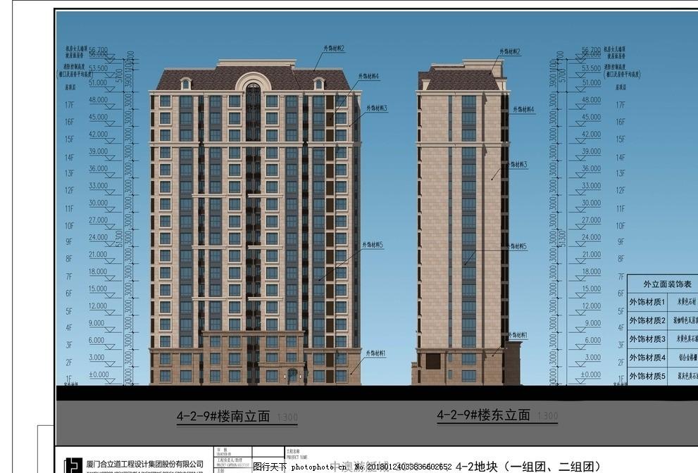 建筑立面设计 法式 住宅建筑 坡屋顶 三段式 图片素材