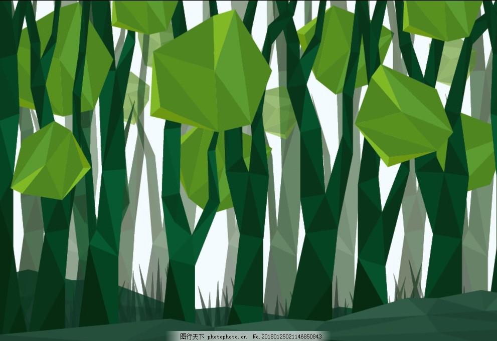 低多边形幻想森林场景