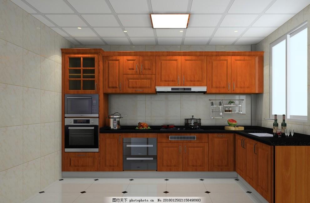 豪华欧式厨房 板式橱柜 厨房五件套 油烟机 灶台 微波炉 烤箱