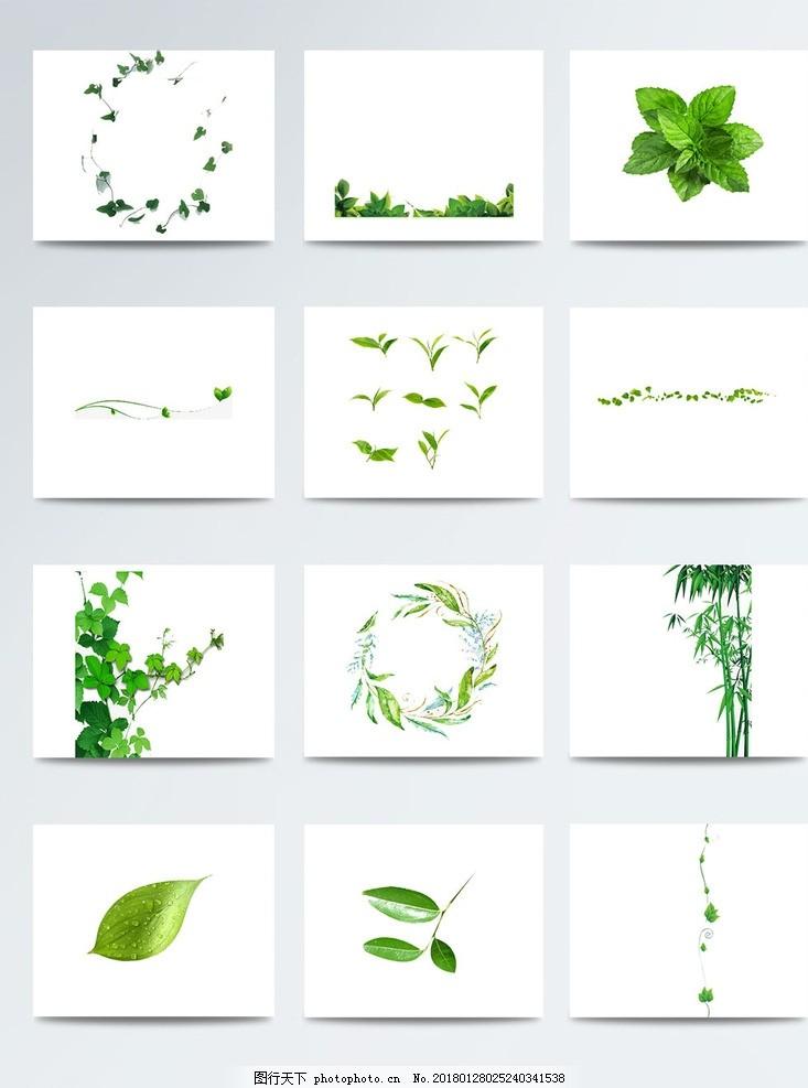 手绘水彩卡通绿叶 一片绿叶 绿叶植物底纹 绿叶ps素材 绿色漂浮叶子