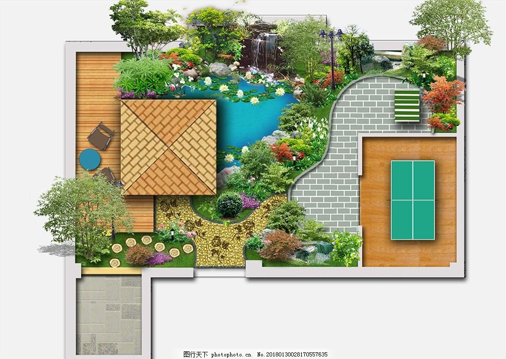 景观平面 园林 旅游区 地砖 石头 水景 木地板 素材作品