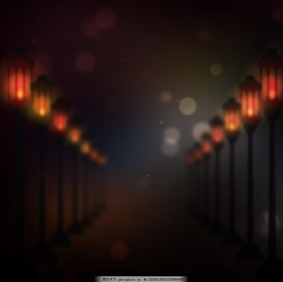 路灯虚化灯光背景