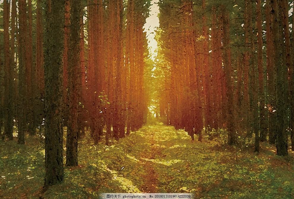 树林油画 森林 枫林 风景 自然 山水 意境 美丽 山河