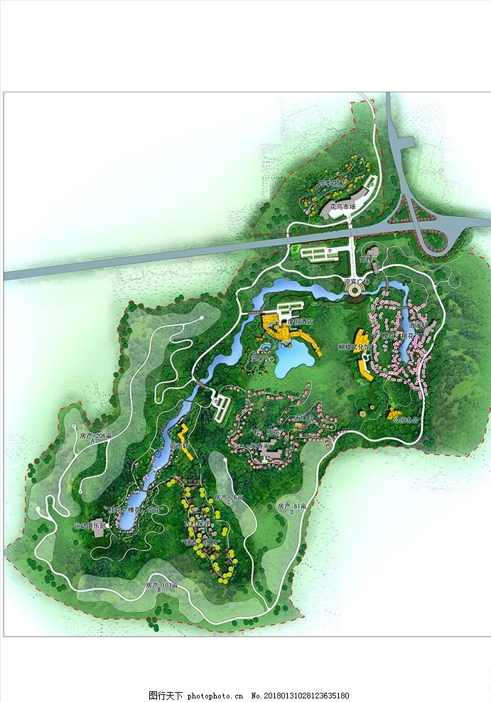景观设计 平面 平面填色 平面效果图 园林 旅游 度假区 风景区