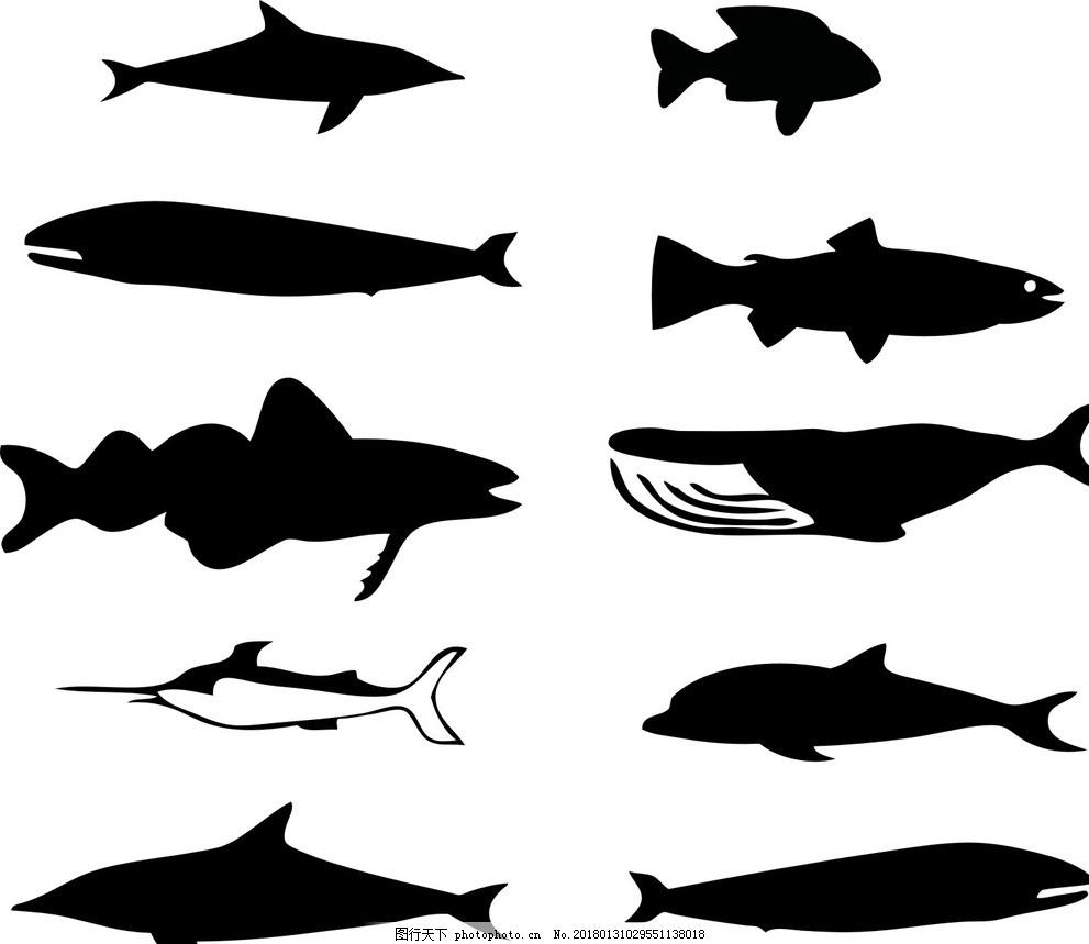 鱼剪影 矢量素材 黑白剪影 线条 动物插画 儿童绘本 儿童画画