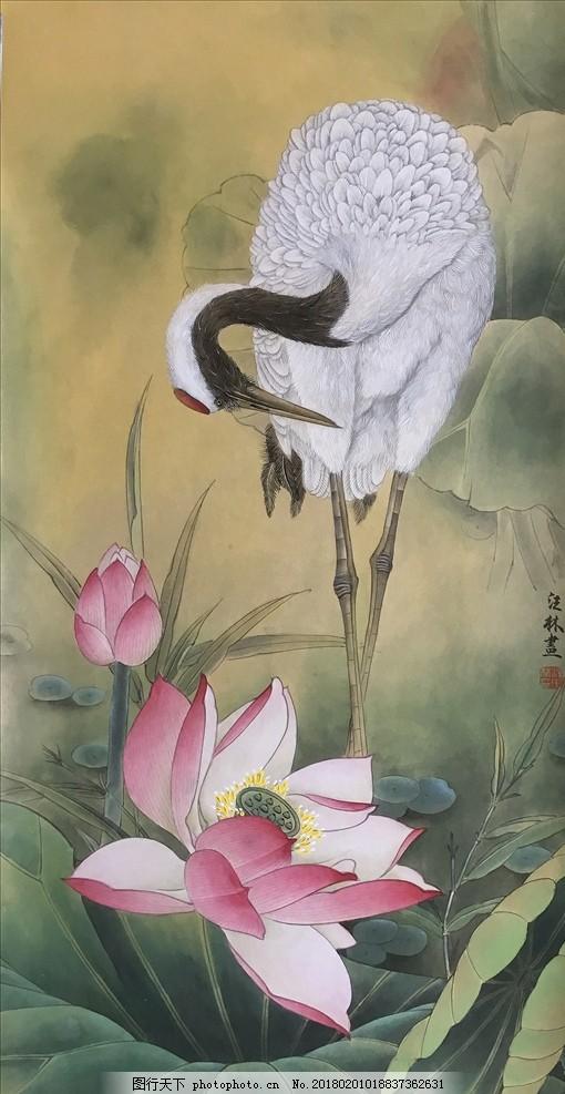 设计图库 文化艺术 传统文化  工笔画 荷花 中国画 亭亭玉立 油画