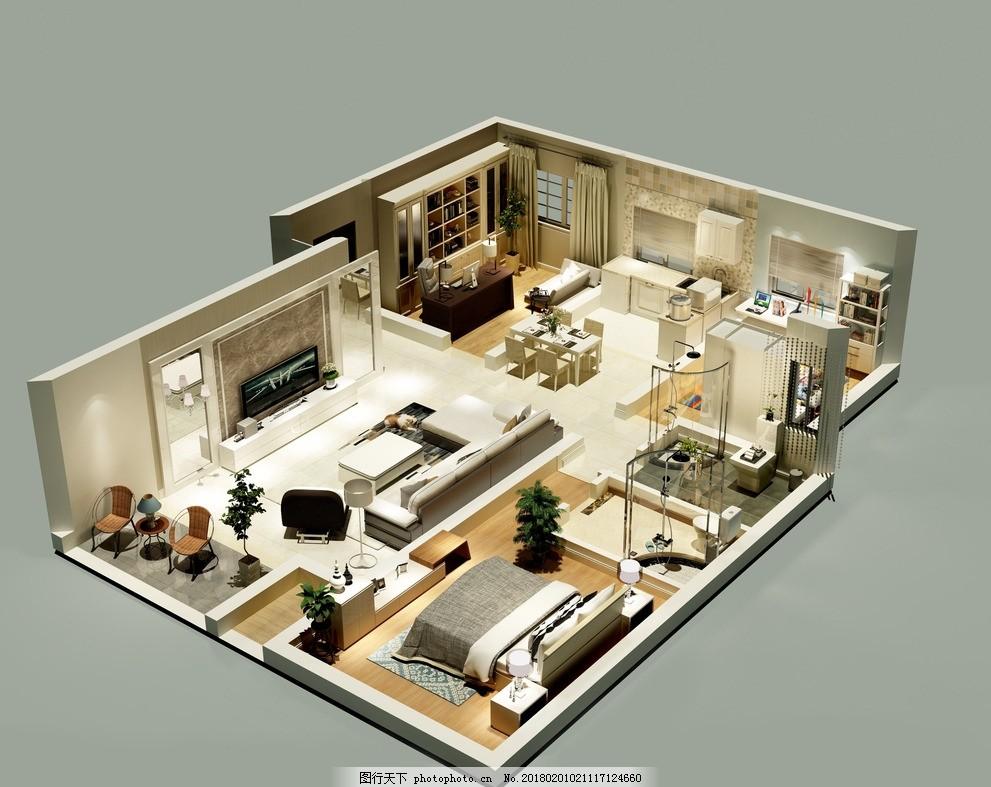 室内效果图 俯视 俯视效果图 装饰 主人房 家居设计 室内装饰