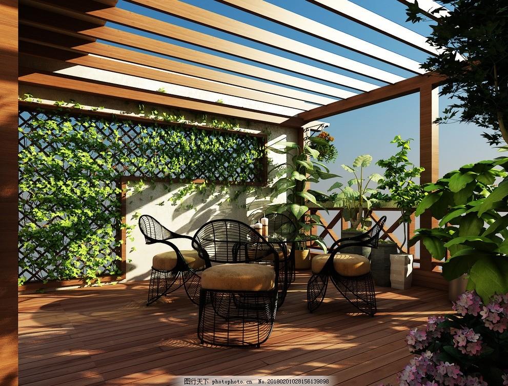 顶楼庭院景观设计防腐木 庭院设计 屋顶花园 现代庭院
