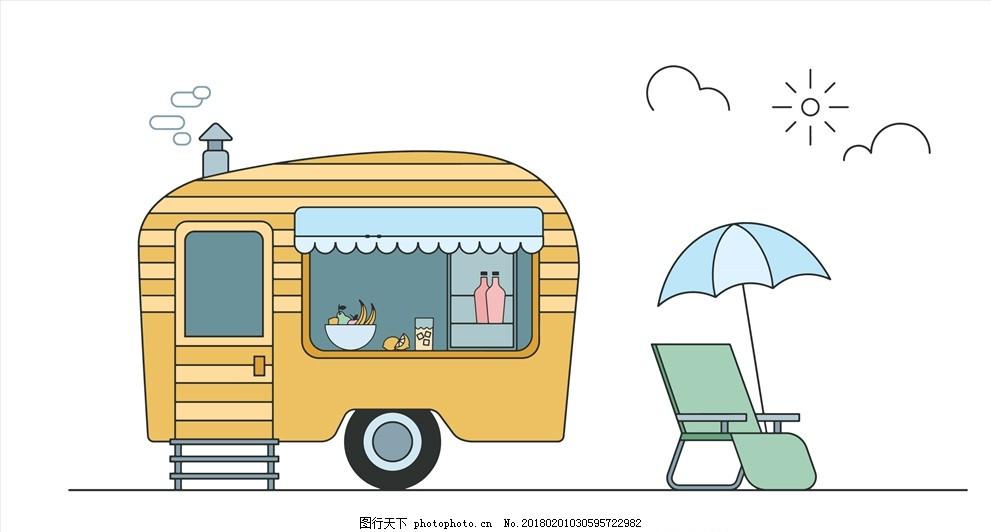 手绘卡通插画 线性 生活 可爱 幼儿园素材 清新