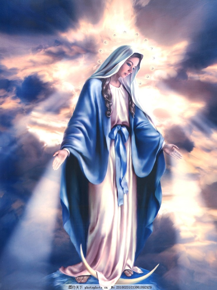 圣母玛利亚肖像画 天主教 耶稣 基督 图片素材