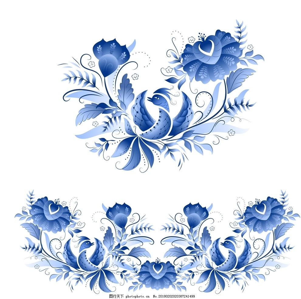 青花瓷花纹,中国风背景 古典中国风 喜鹊 凤凰 花鸟