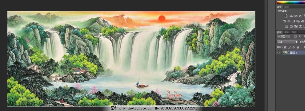 依山傍水山水画 山水风景 流水生财 迎客松 水墨 发财树 水墨山水