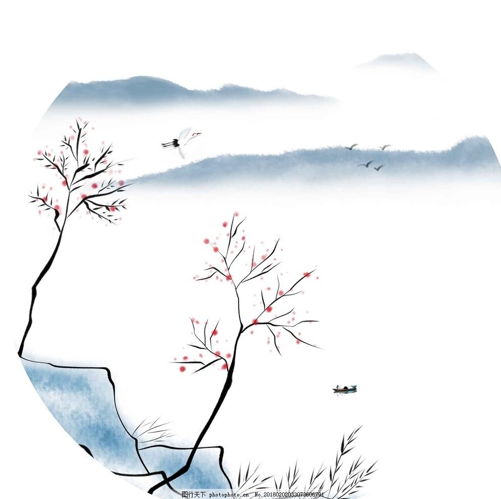 山水画 圆形画 框架画 装饰画 无框画 简约画 简约框架画 客厅画