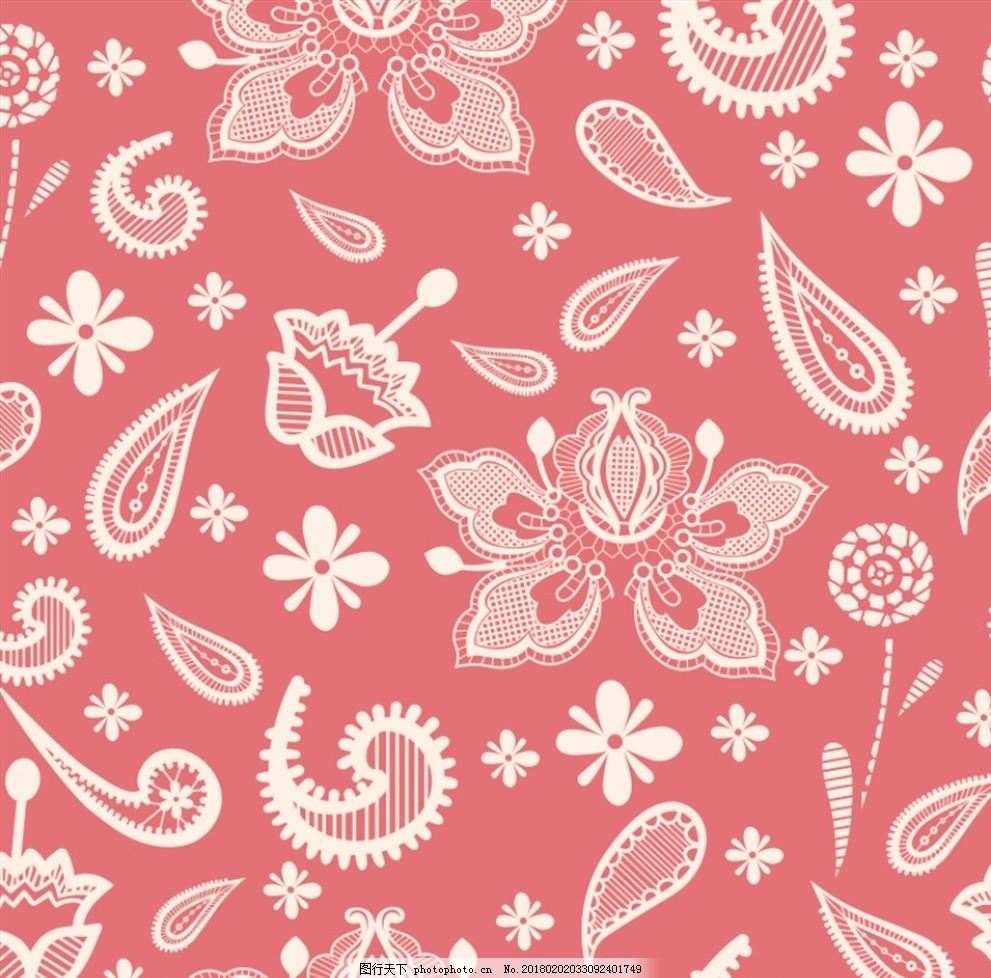 复古花纹无缝背景矢量素材 印花 服装印花 花型 家装 客厅 餐厅