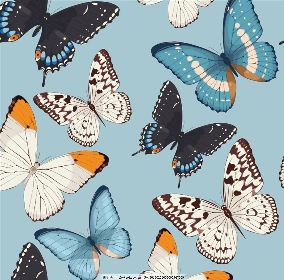 蝴蝶无缝背景矢量素材 无缝背景 无缝 印花 服装印花 花型 家装