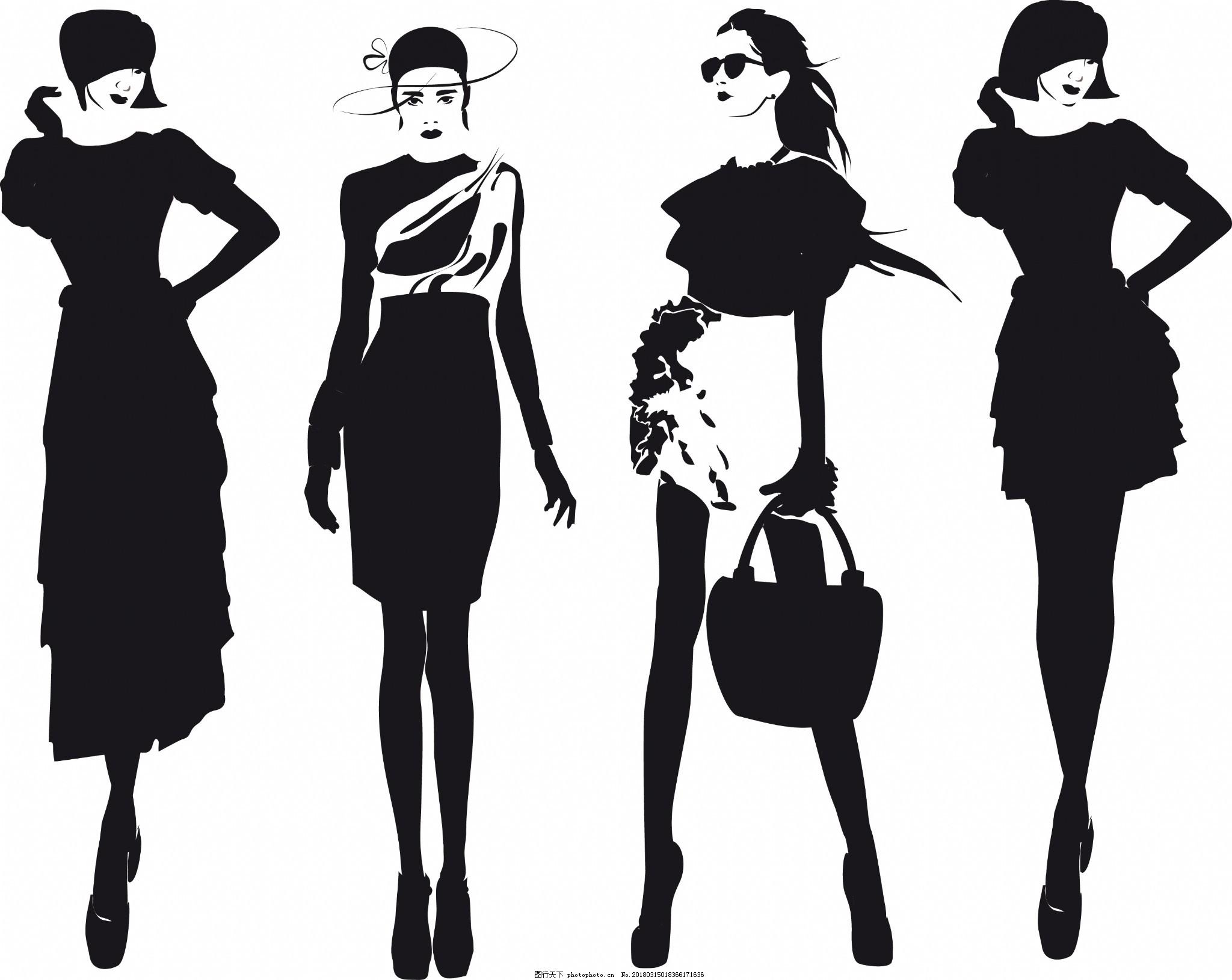纸杯设计矢量图_黑白时尚时装模特插画图片_动漫人物_动漫卡通-图行天下素材网